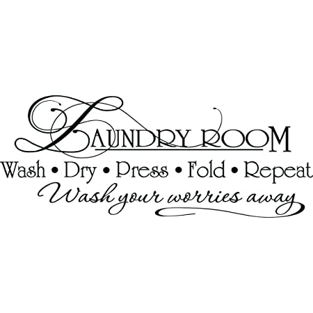 Laundry Room Quote Wash Dry Fold Repeat vinyl wall decal