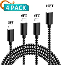 my-handy-design iPhone Charger, 4 Pack 3FT 6FT 6FT 10FT Extra Long Nylon Braided USB Fast Charging& Syncing Cord Compatible iPhone Charger Xs MAX XR X 8 8 Plus 7 7 Plus 6s Plu(Black/White)