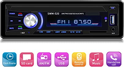 Car Stereo with Bluetooth Single din in Dash, AM FM Car Radio Car Audio Support USB, SD Card,AUX in, with Wireless Remote Control