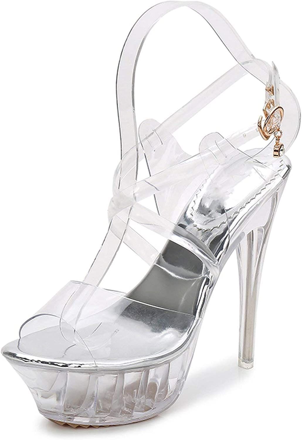 High Heels Womens Sandals Transparent Crystal Heel Model T Stage Sexy Lady Heeled shoes 35-43,14-72,13