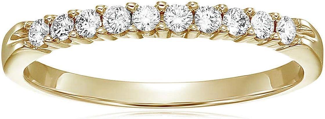 Vir Jewels 1/3 cttw Diamond Wedding Band 14K Yellow Gold 10 Stone Prong Set Round