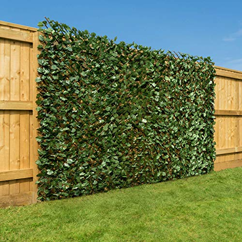 CHRISTOW Artificial Ivy Leaf Hedge Screening, Expanding Willow Trellis With Leaves, Outdoor Garden Privacy Screen, Wall Fence Panel, H1m x W2m (3ft 3