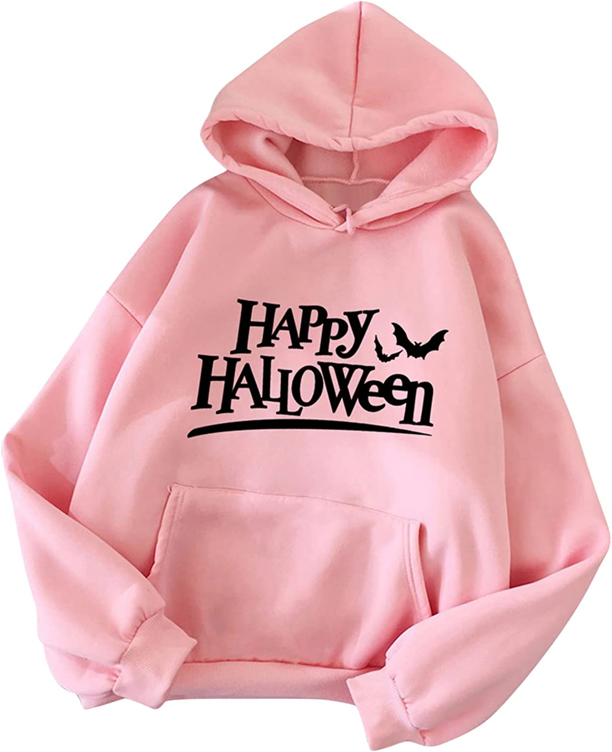 Happy Halloween Women Hooded Sweatshirt Letter Print Drawstring Long Sleeve Loose Pullover Tops With Pockets