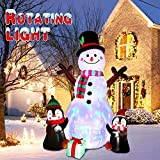 OurWarm 6ft Christmas Inflatables Outdoor Decorations, Blow Up Snowman Penguins Inflatable with Rotating LED Lights for Christmas Indoor Outdoor Yard Garden Decorations