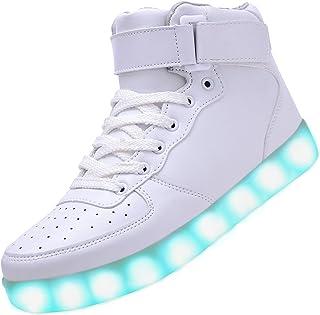 Odema Women Men High Top USB Charging LED Sport Shoes Flashing Sneakers, White, 10 B(M) US, 42 EU/Honk Kong