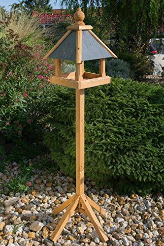 Edles Vogelhaus 3035 mit Ständer Massivholz 165 cm hoch und mit Schieferdach gedeckt Futterkrippe Futterspender Futterhaus - 3