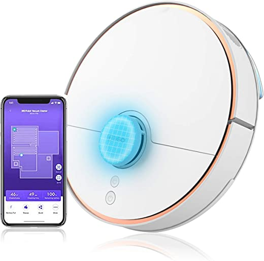 360 S7 Laser Navigation Robot Vacuum Cleaner with SLAM Route Planning 2000Pa Suction Mopping Off-Limit Setting,Smart Sensor, Auto-Recharge and Resume,...