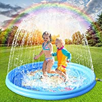 """♥ 【Tampone per irrigatore con diametro super diametro】 - Questo tappetino per irrigatore con diametro super diametro di 180 cm 68 """"è aggiornato, abbastanza per ospitare 4 bambini per giocare insieme all'aperto contemporaneamente. Il design del cuscin..."""