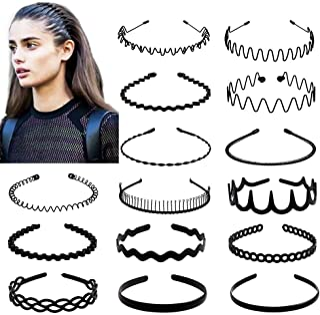 fani 15 Pcs Metal and Plastic Hair Hoop Set, Elastic Non Slip Hair Band Hoop Headwear, Black Wavy Simple Outdoors Unisex H...