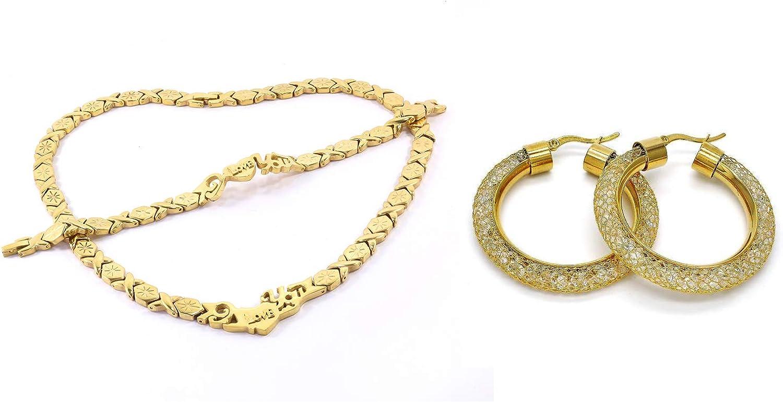 SPARKLE XOXO Womens 14k Gold Finish I Love You Hugs & Kisses Necklace Bracelet and Earrings Set with Fancy Filigree Hoop Earrings