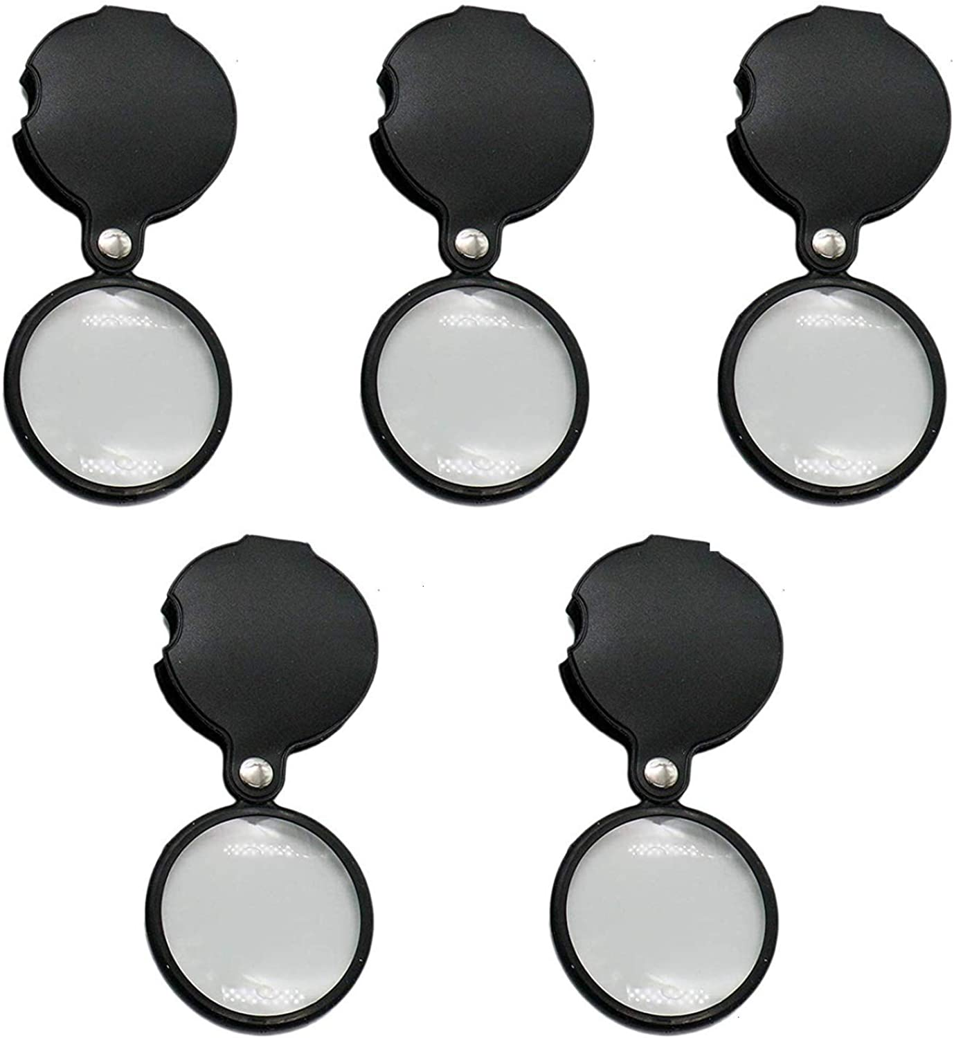 Timoo 5 PCS Small Magnifying Glass 3 x Folding Pocket Magnifier with redating Leather Case for Read Research Hobby, Black