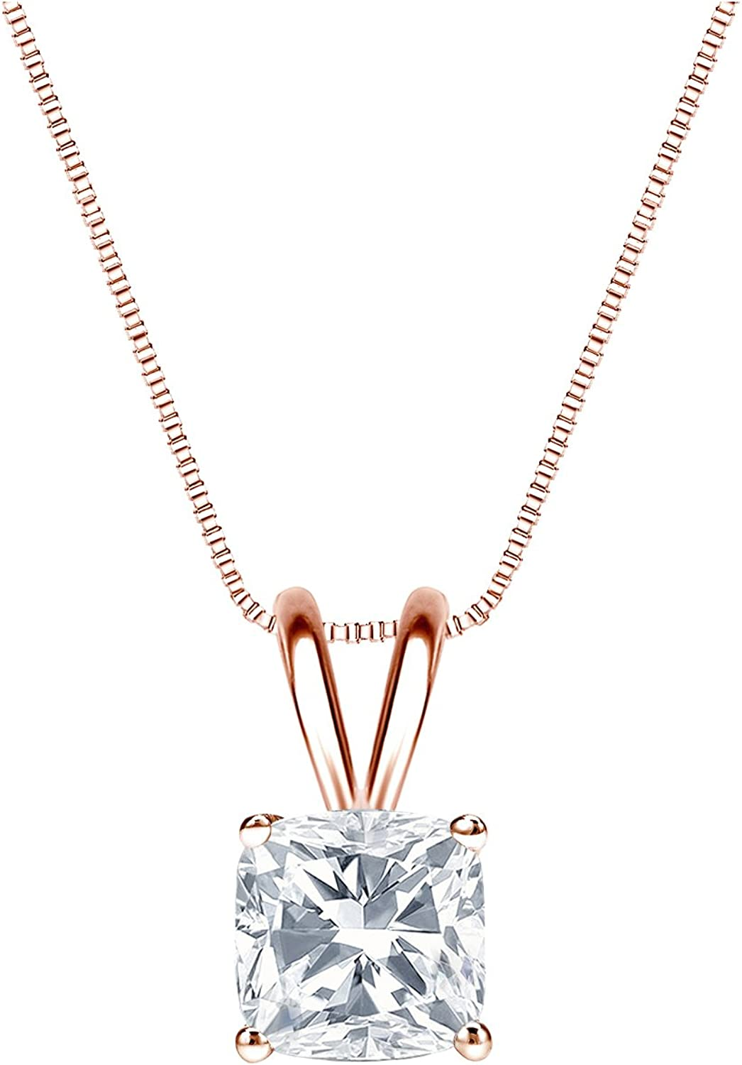 14k Rose Gold 4-Prong Basket Solitaire Diamond Cushion-Cut Penda Sale SALE% 67% OFF of fixed price OFF