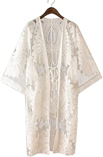 1165554bfd41b Suroomy Embroidered Women Swimsuit Bikini Cover up Lace Cover up Sun  Protection Clothing