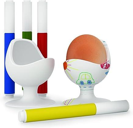 Preisvergleich für Brainstream Egg Chair Kreativset 2 Egg Chair Eierbecher + 4 Stifte zum Gestalten, Weiß, A001565