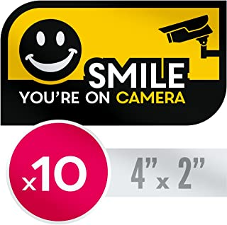 UV Resistant, No Fade Security CCTV Warning Sticker - 10 X Smile You're on Camera Decals