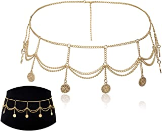 Jurxy Multilayer Alloy Waist Chain Body Chain for Women Waist Belt Coin Pendant Belly Chain Adjustable Body Harness for Jeans Dresses – Gold 0457