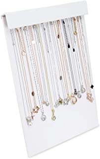 MOOCA Premium White Leatherette 16 Chains Display Pad With Easel Necklace Jewelry Organizer Display Stand Necklace Storage...