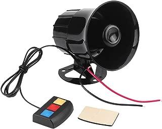 Motorcycle Alarm Horn, 12V 30W Car Motorcycle Alarm Warning Siren Horn 3 Sound Loud Speaker, Black