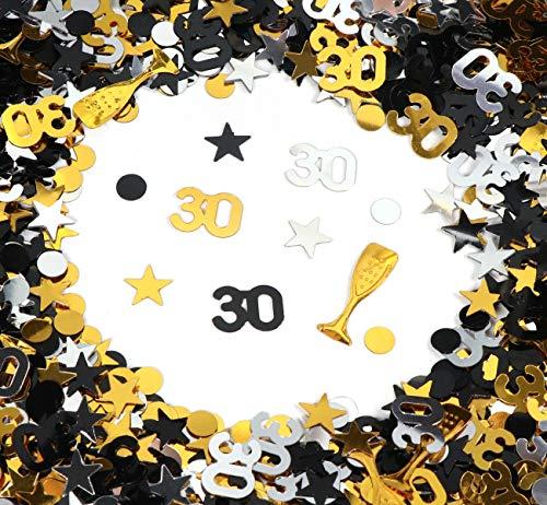 30. Geburtstag Jubiläum Konfetti Gold Silber Schwarz Sterne Punkte Weinglas Tisch Deko für Hochzeit Feier Jubiläum Deko über 500 Stück