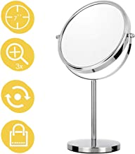 7 Inch Makeup Mirror Double Sided Tabletop Vanity Mirror with 3x Magnification Swivel Cosmetic Mirror