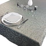 PROHEIM Premium Tischdecke 150 x 250 cm Elegante Tafeldecke mit edlen Ornamenten Tafeltuch mit Rankenmuster schmal gesäumtes Tischtuch, Farbe:Anthrazit