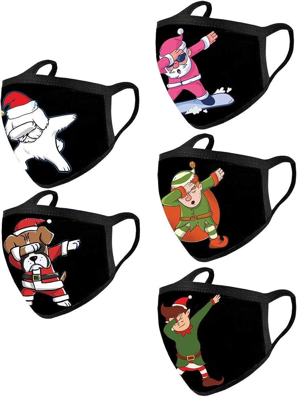 Women 5PCS Snowman Cute Cartoon Claus Riding Reindeer Sleigh Merry Christmas Half Face_Mask