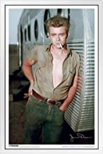 Pyramid America James Dean Trailer White Wood Framed Poster 14x20