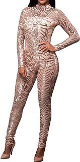 778b18b264cf Aecibzo Women s Sexy Sequins Jumpsuit Bodycon Slim Leg Pants Jumpsuits  Rompers