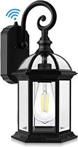 Exterior Dusk to Dawn Sensor Outdoor Wall Lantern, Waterproof Porch Wall Light Fixtures with Photocell, 100% Aluminum, Anti-Rust Matte Black Wall Sconce with Clear Glass for Doorway Garage Hallway