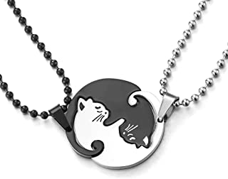 Pair Steel Matching Kitty Cat Friendship Pendant Necklace, Lovers Couples Friends