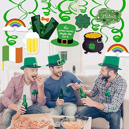 Bdecoll St. Patrick's Day Dekorationen,30 Stück Saint Patrick deko Hängedekoration Kleeblatt Deckenhänger Spiral Girlanden für St. Patrick's Day Party Dekoration
