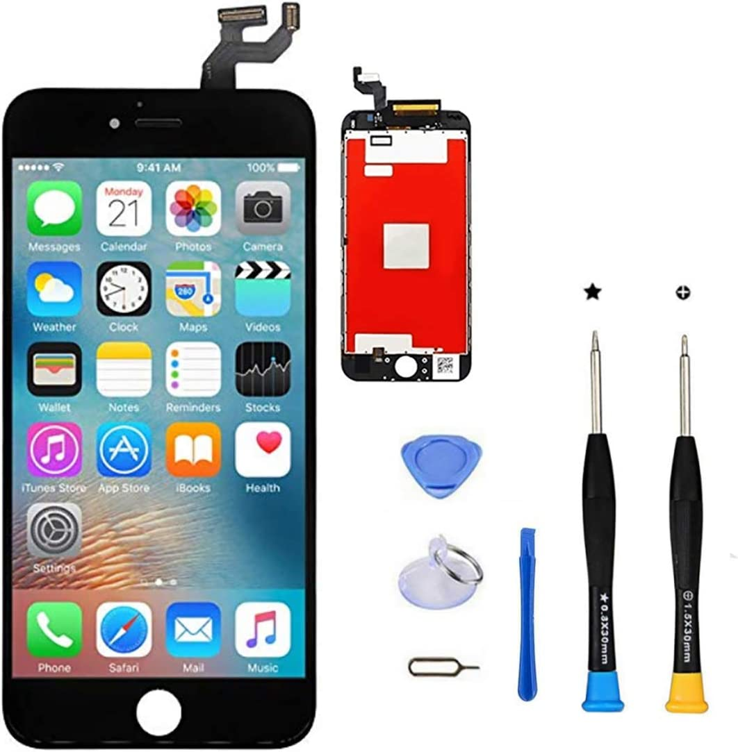 Premium Screen Replacement, Compatible iPhone 6S 4.7inch (Model A1633, A1688, A1700) LCD Replacement Screen with 3D Touch Screen Digitizer Fram Assembly Full Set + Free Tools (Black)