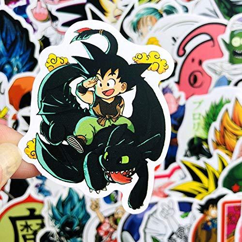 SUANG 100pcs/lot Anime Dragon Ball Super Stickers Saiyan Goku Aufkleber für Snowboard Gepäck Kühlschrank Laptop DIY Aufkleber farbe