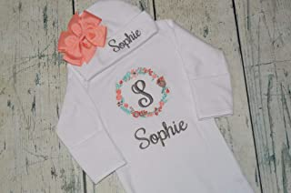 Personalized Baby Girl Outfit, Newborn Gown and Hat Monogrammed, Coral Aqua and Gray Flower Set
