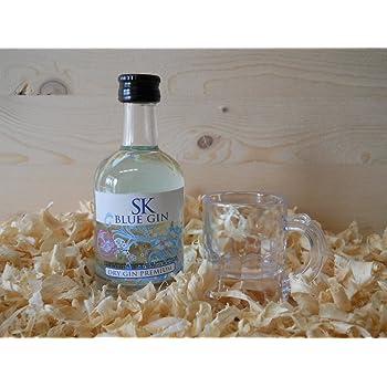 Botellin miniatura Ginebra GIN SK BLUE con vasito chupito - Pack ...