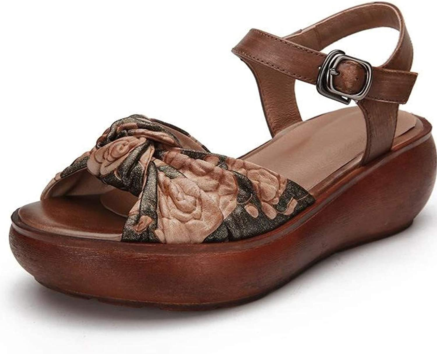 T-JULY Genuine Leather Retro Casual Floral Buckle Wedge Sandals for Women Mde Heel Summer