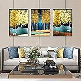XMYC Arte Abstracto Abstracto Moderno Cartel impresión Hoja Dorada Volar pájaro Bailu Imagen para habitación decoración del hogar 3 Piezas 50x70cm sin Marco