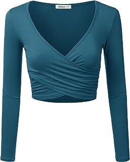 CLOVERY Women's Long Sleeve Surplice Wrap Crop Top
