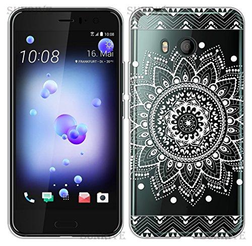 Sunrive Für HTC U11 Hülle Silikon, Transparent Handyhülle Schutzhülle Etui Hülle Backcover für HTC U11(TPU Blume Weiße)+Gratis Universal Eingabestift