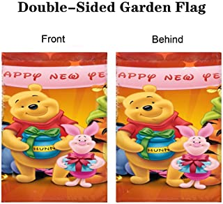 DISNEY COLLECTION Garden 12X18 Inch New Year Winnie The Pooh Double-Sided Pattern Design Cute Cartoon Holidays Seasons Home Decor