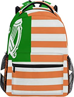 Canvas Special Gallery Irish American Flag Zipper College Bookbag Travel Rucksack Gym Bag For Youth