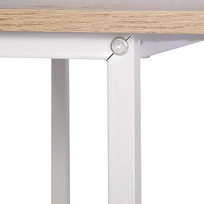 WOLTU TSB31hei Schreibtisch Computertisch Büromöbel PC Tisch Bürotisch Arbeitstisch aus Holz und Stahl, mit Ablage, ca. 120x60x75 cm