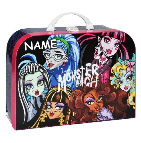 alles-meine.de GmbH Kinderkoffer Monster High - mit Namen - Groß - Puppenkoffer Koffer Reisekoffer aus Pappe Mädchen Puppe pink Gothik Puppen
