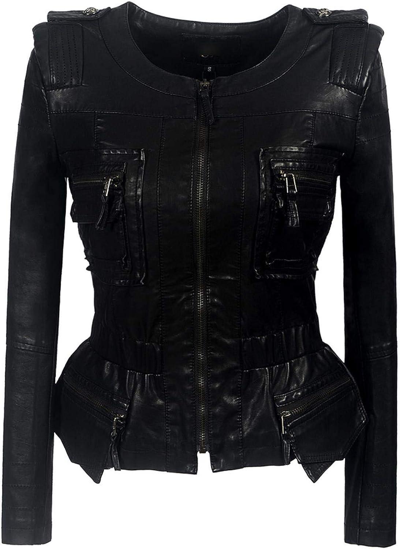 BeautyW Women's Gothic Faux Leather PU Jacket Fashion Punk Style Motorcycle Coat