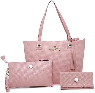 Kit Bolsa Feminina Tipo Sacola + Necessaire + Carteira Willibags (Rosa)