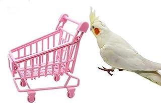 NINGYE Fågelträningsleksak, mini rosa shoppingvagn leksak, för papegoja, parakit, nymfkakor, aror, kärleksfåglar
