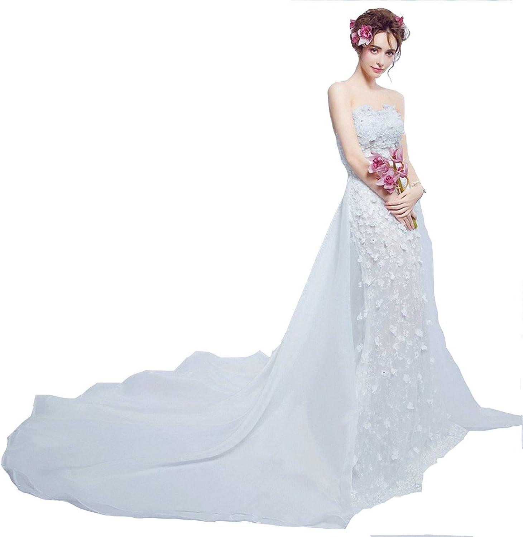 WWW USA Women's Sexy Dress Removable White Flower Slim Strapless Fishtail Wedding Dress