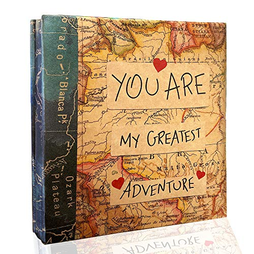 Holoary Photo Album Self Adhesive Magnetic Self-Stick Page Scrapbook Hand Made DIY Albums, Printed Kraft Paper Cover Old Map Adventure World Travel Book