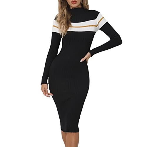3a40fc67bdc BerryGo Women s High Neck Striped Sweater Bodycon Ribbed Knit Midi Dress