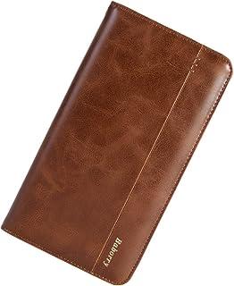 Titular de la Tarjeta Monedero multifunción móvil de Embrague Larga Cartera de los Hombres de Doble Pliegue Minimalista Cr...